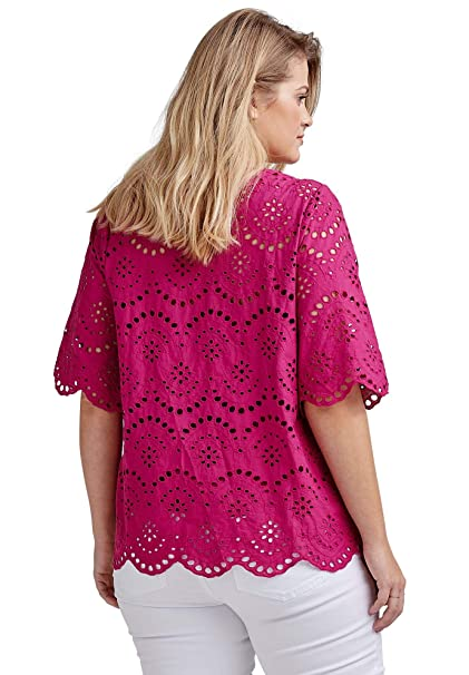 4296ebacbe2 Ellos Women s Plus Size Scalloped Hem Eyelet Blouse at Amazon Women s  Clothing store
