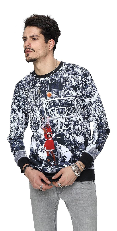 PIZOFF Unisex Hip Hop 3D Digital Printing Pullover Sweatshirts