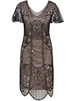 Vijiv Vintage 1920s Deco Beaded Sequin Embellished Flapper Dress With Sleeves