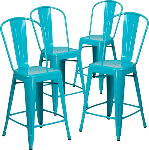 Flash Furniture Commercial Grade 4 Pack 24″ High Crystal Teal-Blue Metal Indoor-Outdoor Counter Height Stool
