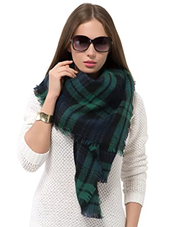 c826ce9805638 Image Unavailable. Image not available for. Color: Dimore Large Tartan  Checked Plaid Scarf Shawl for Womens ...