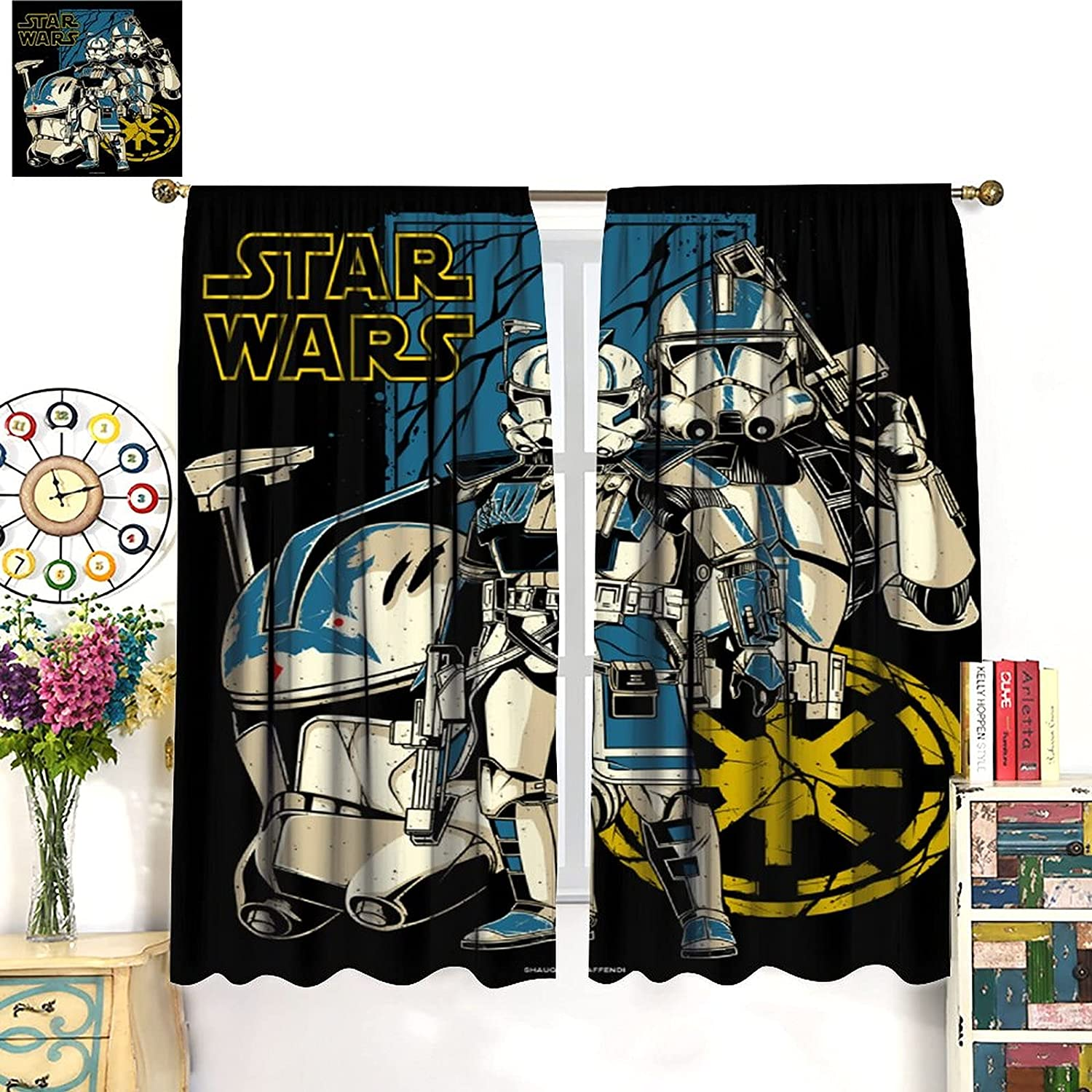 DRAGON VINES Star Wars The Clone Wars Captain Rex Clones Curtains Cartoon Children Bedroom CurtainsArt Decoration Curtains for Bedroom, Club, Living Room 42x63inch(107x160cm)