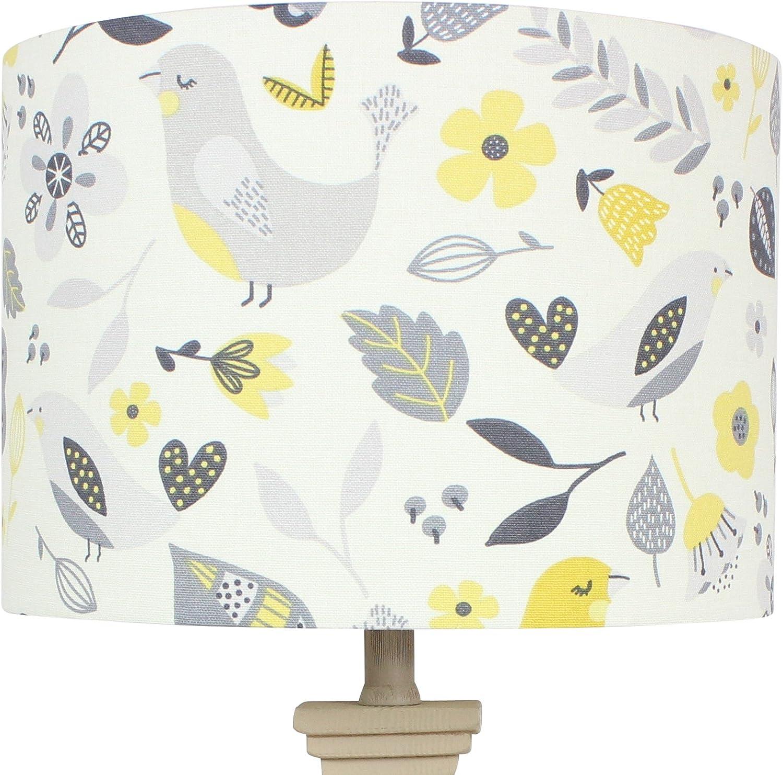 Fryetts naturel gris Annika Rétro Floral Scandi Tambour Abat-jour Lightshade