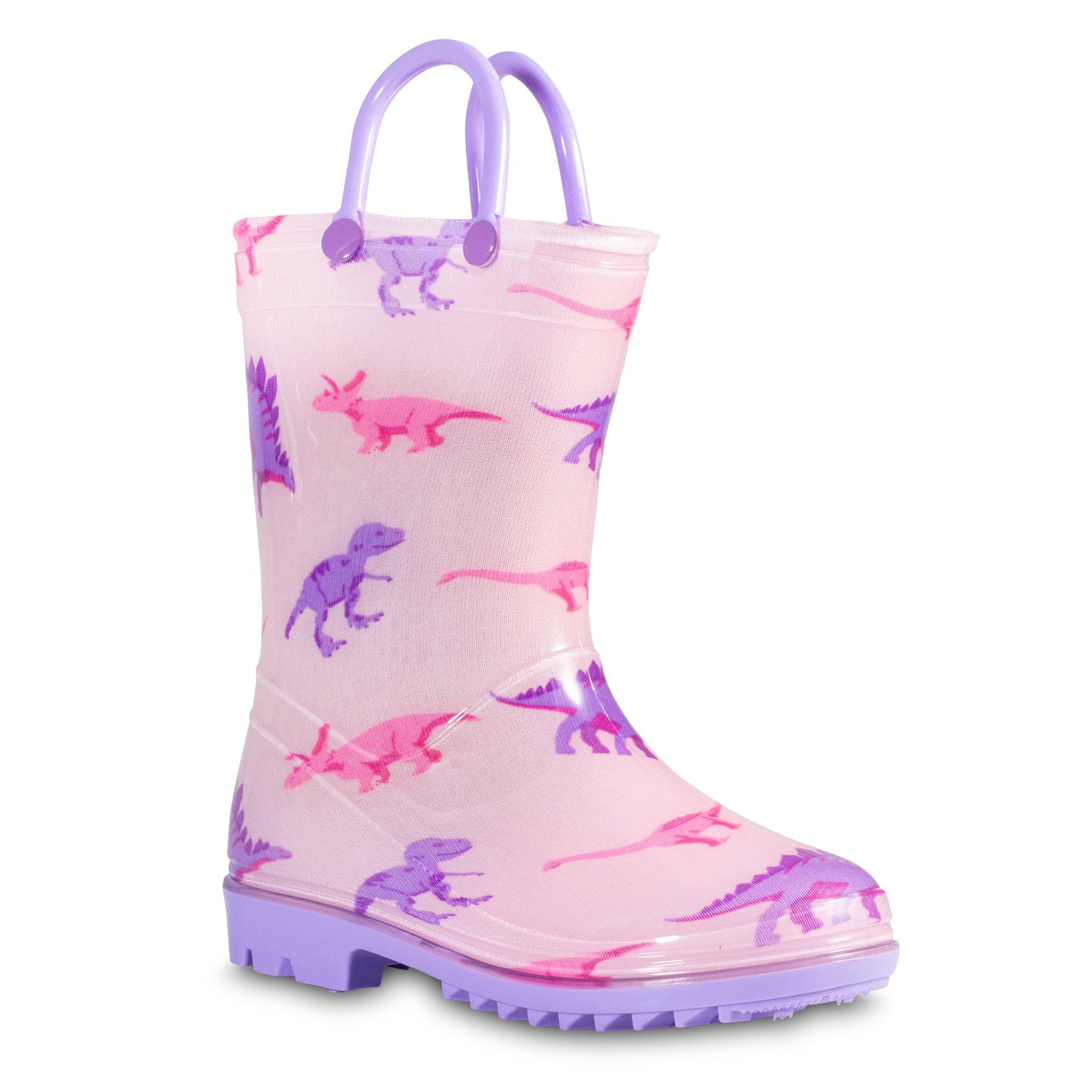 Girls Pink Dino PVC Rain Boot
