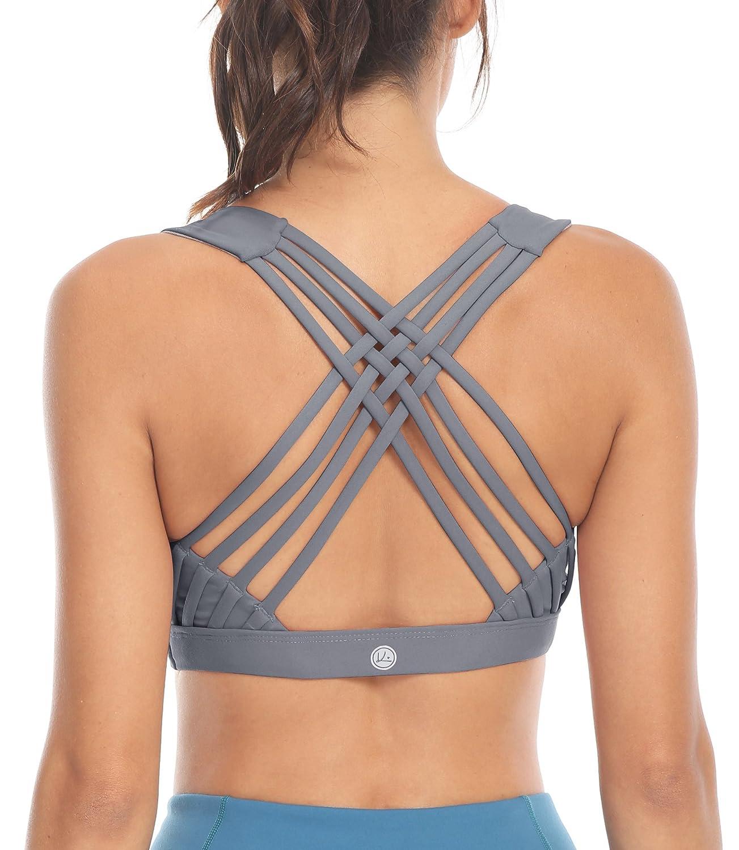 fc26e8c110 Queenie Ke Women s Medium Support Strappy Back Energy Sport Bra Cotton Feel  at Amazon Women s Clothing store
