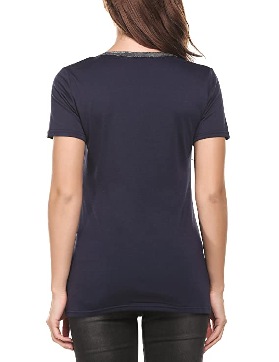 Parabler Damen Sommer T-Shirt Tunika Casual V-Neck Tops Kurzarm Bluse Basic  Oberteile: Amazon.de: Bekleidung