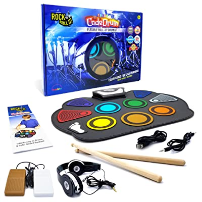 Rock And Roll It - CodeDrum. Flexible Roll Up Color Coded Electric Drum Kit, Easy Learning & Play for Beginners! Portable, Drumsticks+Bass Drum/Hi Hat pedals+Headphones+Play-By-Color Music Book: Musical Instruments