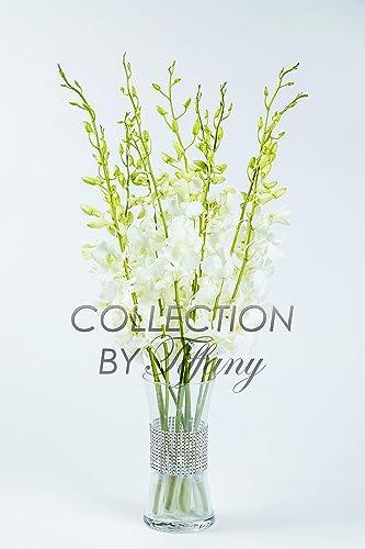 Fresh Dendrobium Cut White Orchids with Vase Diamond Mesh Bling Bling