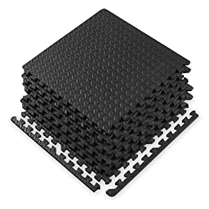 """Gaiam Essentials Interlocking Exercise Mat - Square Puzzle Foam Tiles Home Gym Fitness Mat Workout Flooring   Multi-Purpose Use in Garage, Basement, Kids/Baby Play Areas   23.5"""" x 23.5"""" x 0.48"""" Thick"""