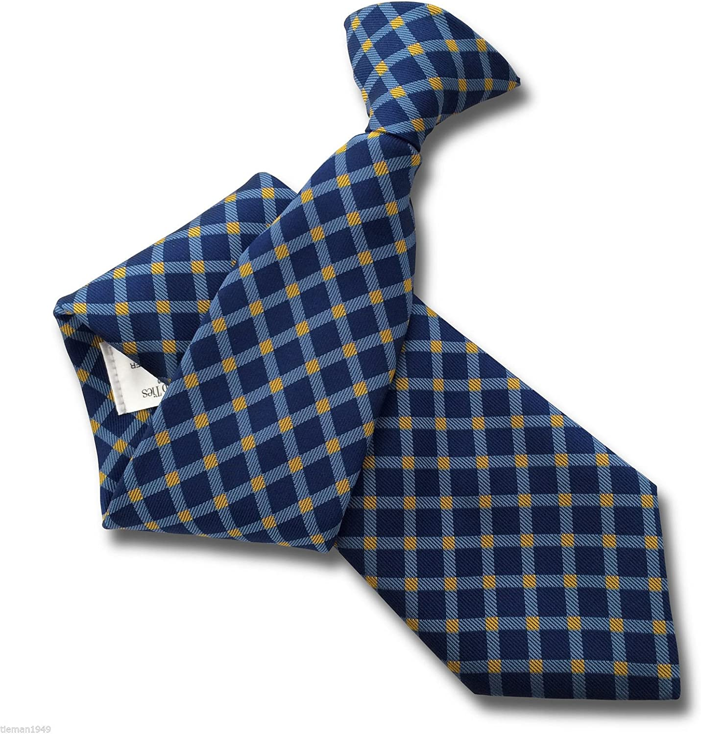 Mens Clip On Tie Royal, Sky Blue /& Yellow Diamond Check