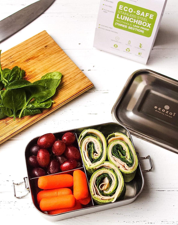 ecol/ógica caja bento de almacenamiento de alimentos sostenible sin residuos. ecozoi Fiambrera extragrande de acero inoxidable con 3 compartimentos a prueba de fugas
