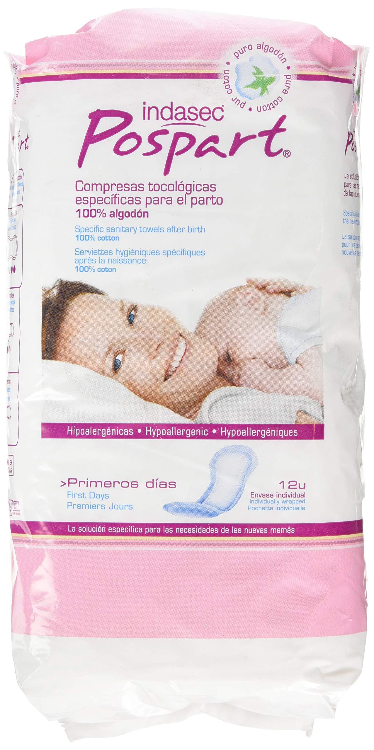 Indasec - Compresas Posparto Primeros Días, de Algodón - 12 Compresas product image