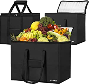 KOMEX Reusable Grocery Bags Foldable 3 Pack Shopping Bags With Sturdy Zippered And Strong Handle Washable Cloth Bag Large Thermal Insulated Tote Bag For Hot Or Cold Groceries