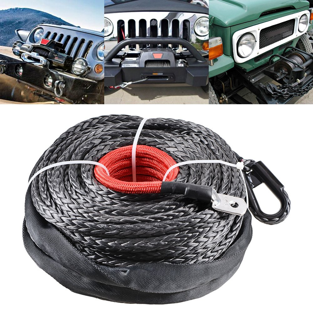 10 Mount Chrome Polished Hawse Fairlead Jeep Truck KFI Ramsey Astra Depot 95ft x 3//8 Black Synthetic Winch Rope Cable 20500lbs Heat Guard Protective Sleeve