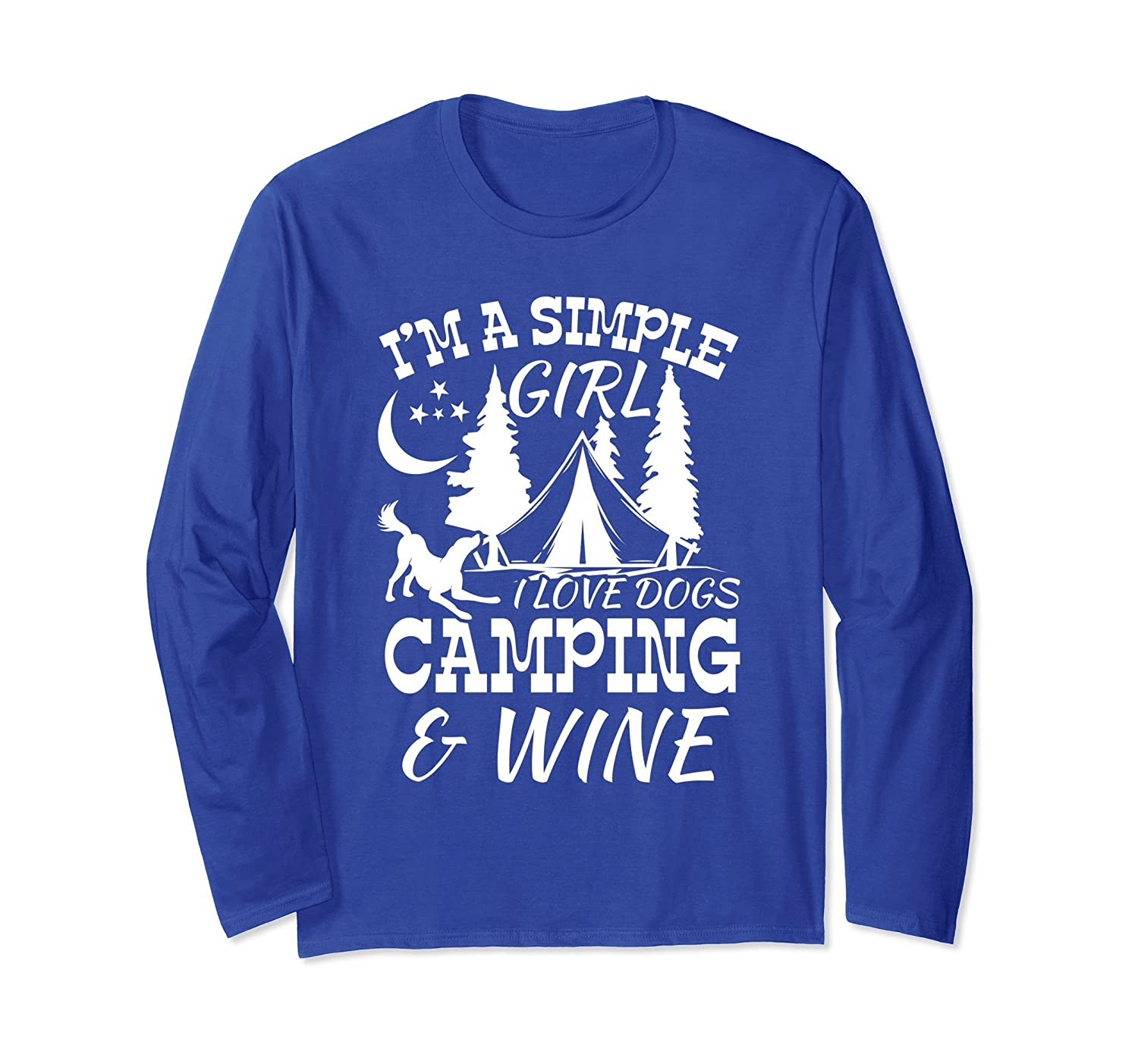 9401c47d SIMPLE GIRL I LOVE DOGS CAMPING & WINE gift Long Sleeve-alottee gift ...