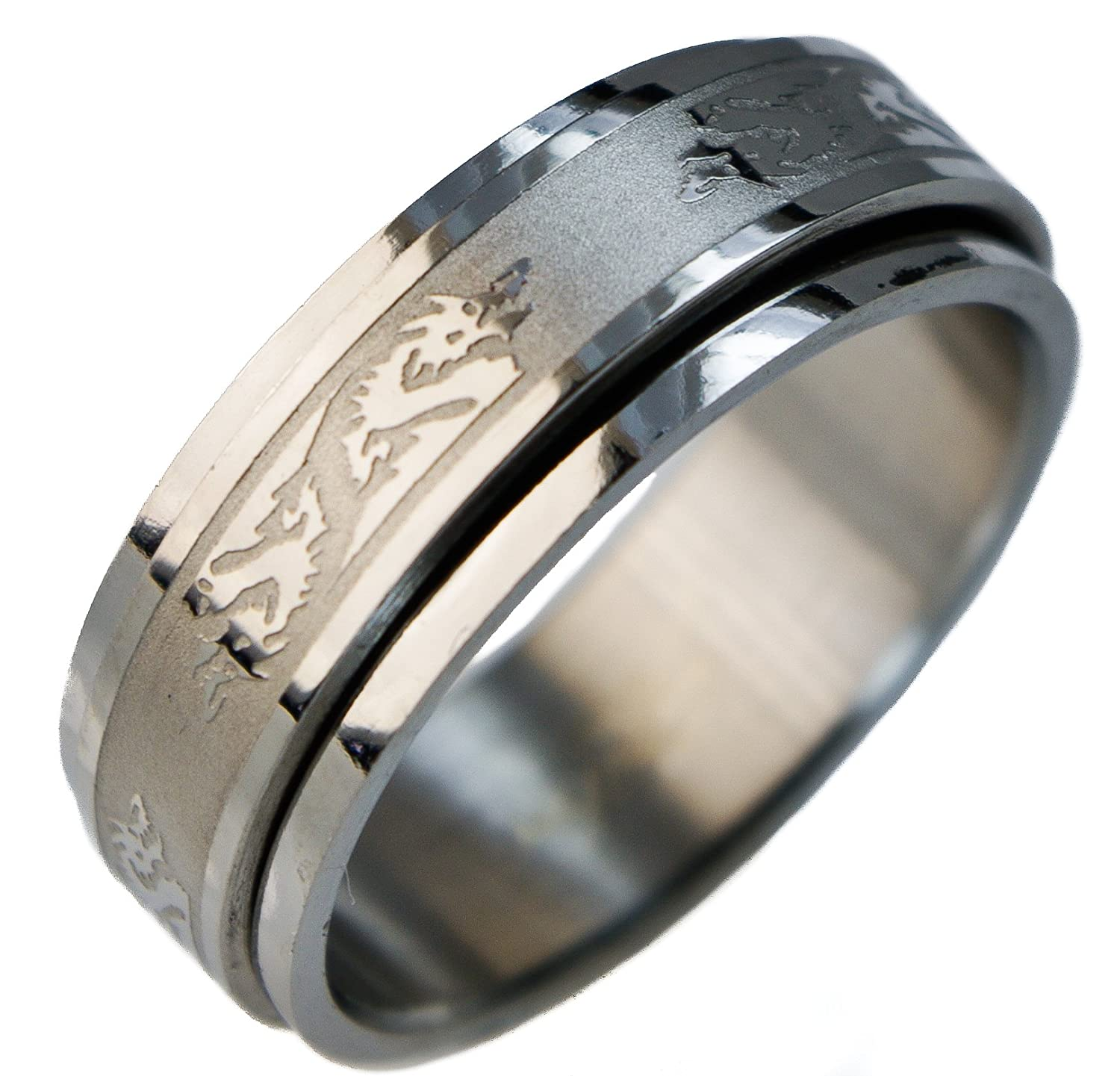 Men s Spinner Dragon Worry Ring 316L Stainless Steel Size 9 10 11
