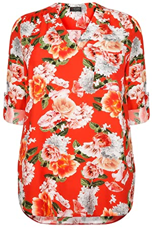 Plus Size Womens Floral V-neck Blouse With Roll Up Sleeves & Pocket Detail Size 24-26 Orange