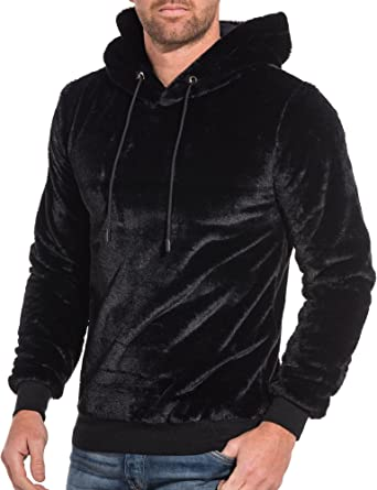Uniplay - Sweat Homme Noir Velvet à Capuche