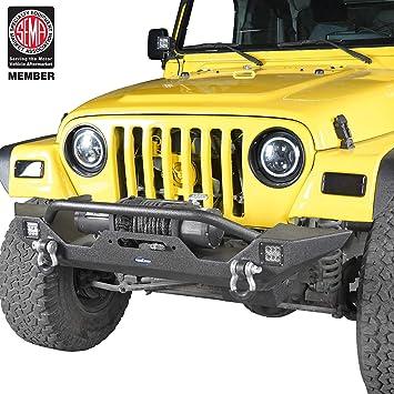 Hooke Road Mid Steel Front Bumper w// Winch Plate for Jeep Wrangler TJ 1997-2006