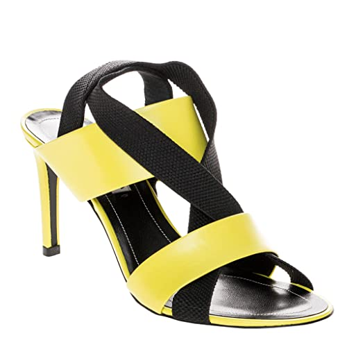 be0e3e47e30 Balenciaga Women's Mid-Heel Elastic Criss-Cross Sandals Leather Neon Green  38 ...
