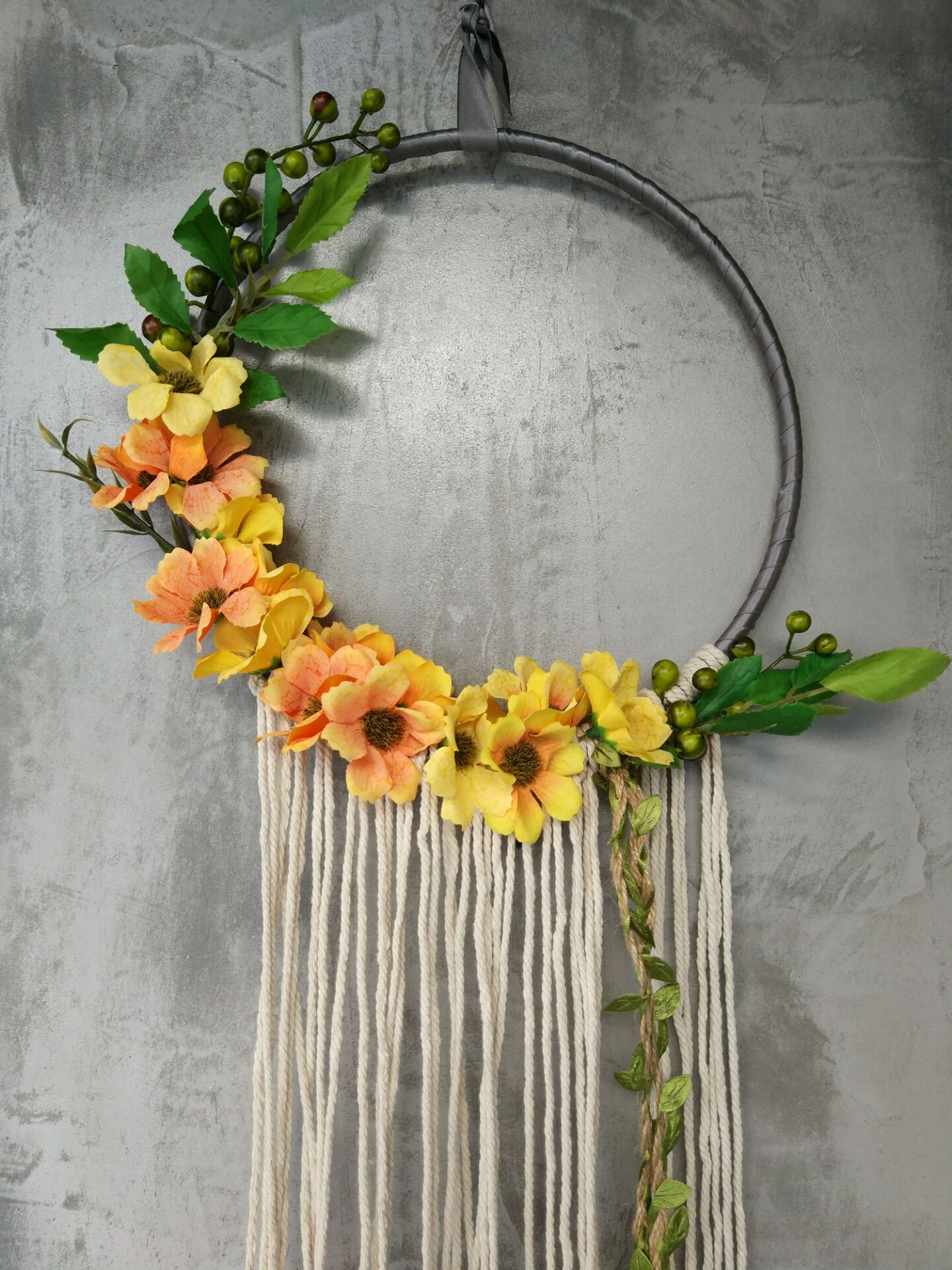 RISEON Handmade 32'' Long Large Tassel Dream Catcher Wall Hanging Decoration Macrame Fringe Floral Flower Wreath Dreamcatcher Boho Home Decor Ornament Gift (Yellow) by RISEON