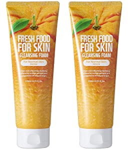Face Foam Cleanser for Sensitive Dry Oily Normal Skin by Fresh Food for Skin (Orange(Normal Skin), 2pk)