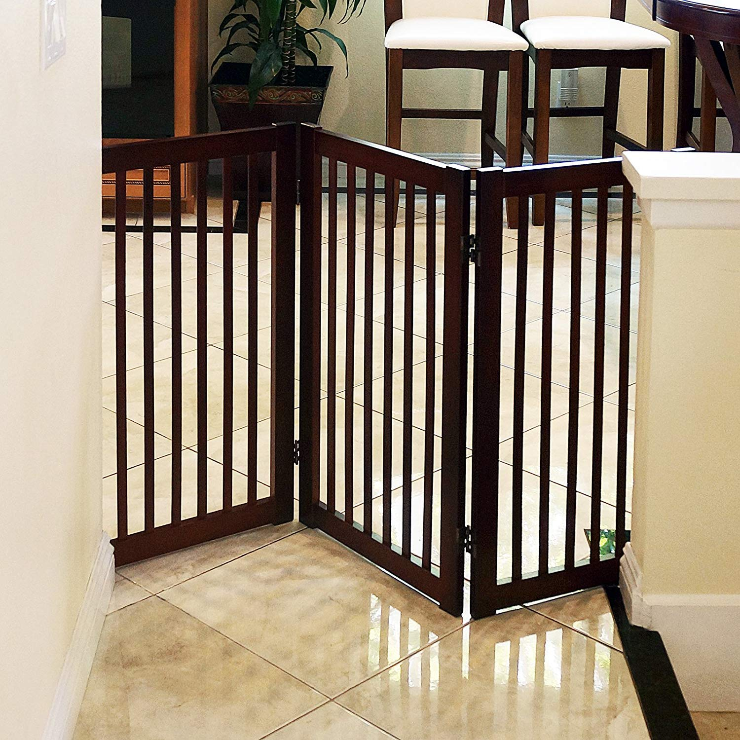 WELLAND Wood Freestanding Pet Gate Espresso, 54-Inch Width, 30-Inch Height No Support Feet