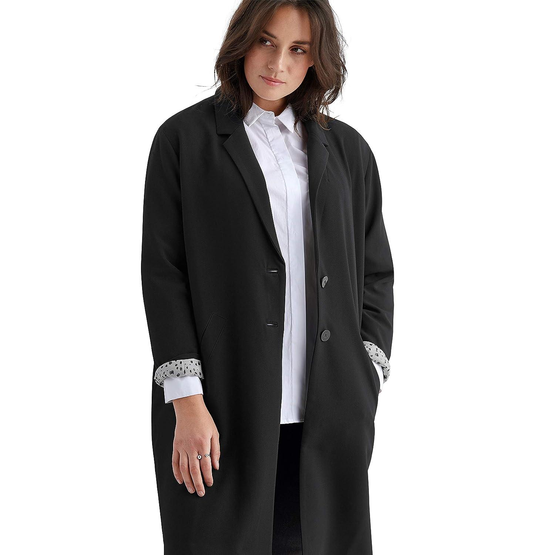 Ellos Womens Plus Size Button-Front Boyfriend Coat