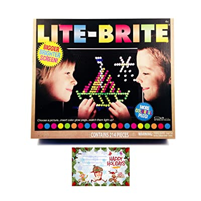 LITE Brite Magic Screen Toy Fun Retro Game | Premium Pack | 200+ Glow Pegs Brilliant Colors | Bigger Brighter Screen | Age 4 +| 6 Templates | 1 Art Guide | Bundle iPanda House Tag/Card: Toys & Games