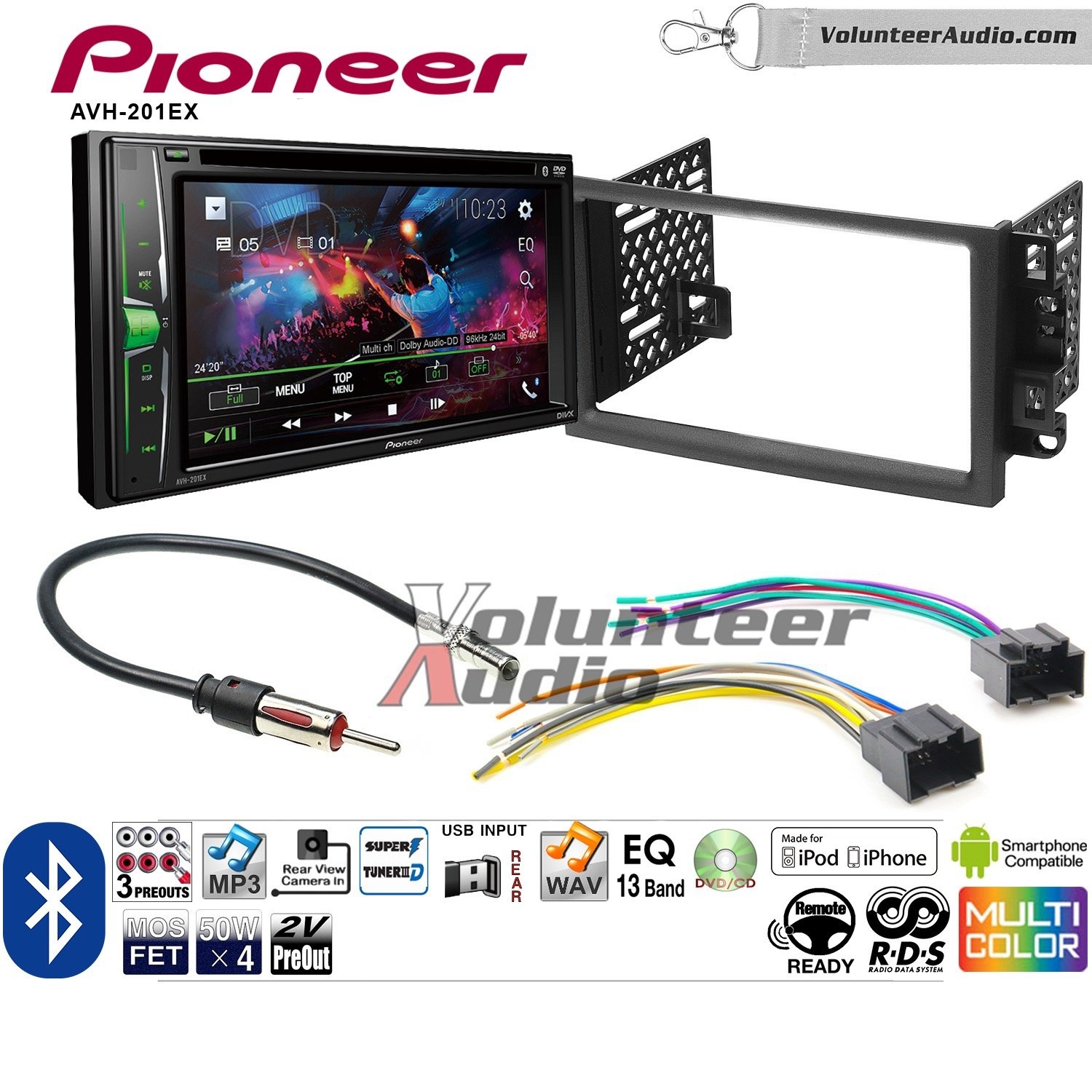 Volunteer Audio Pioneer AVH-201EX Double Din Radio Install Kit with CD Player Bluetooth USB/AUX Fits 2003-2006 Chevrolet Avalanche, Chevrolet Blazer