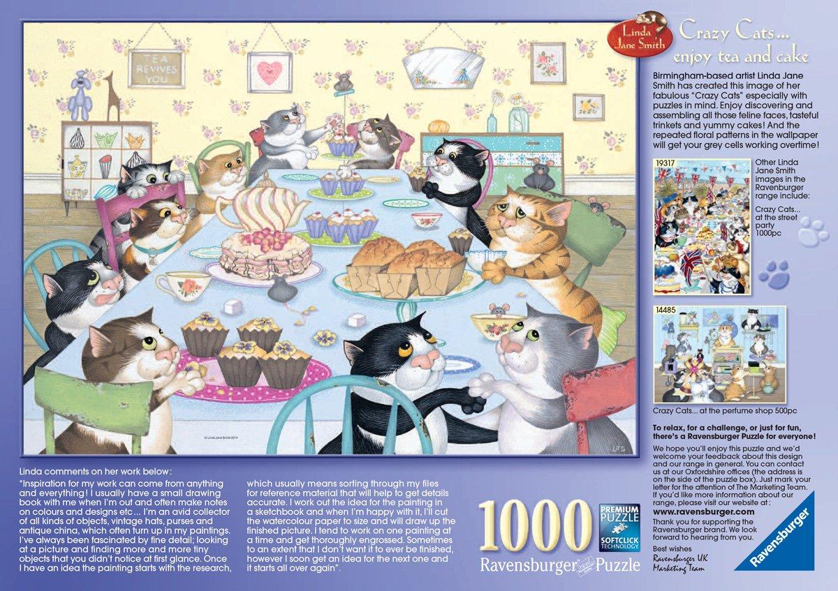Ravensburger Crazy Cats - Enjoy Tea and Cake 1000pc Jigsaw Puzzle