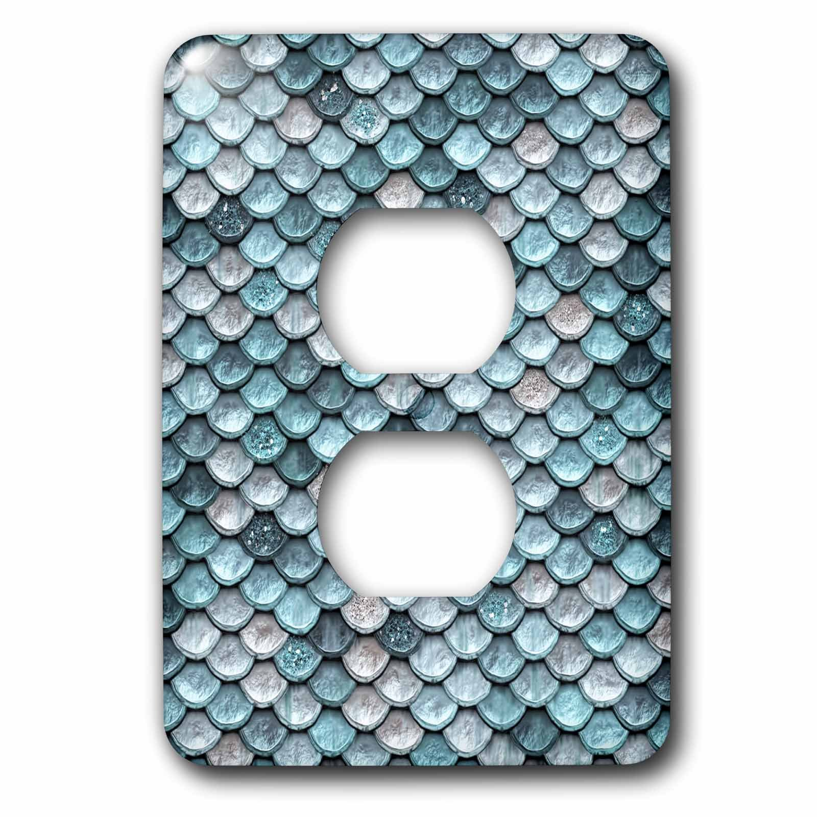 3dRose Uta Naumann Faux Glitter Pattern - Sparkling Teal Luxury Elegant Mermaid Scales Glitter Effect Artprint - Light Switch Covers - 2 plug outlet cover (lsp_267058_6) by 3dRose (Image #1)