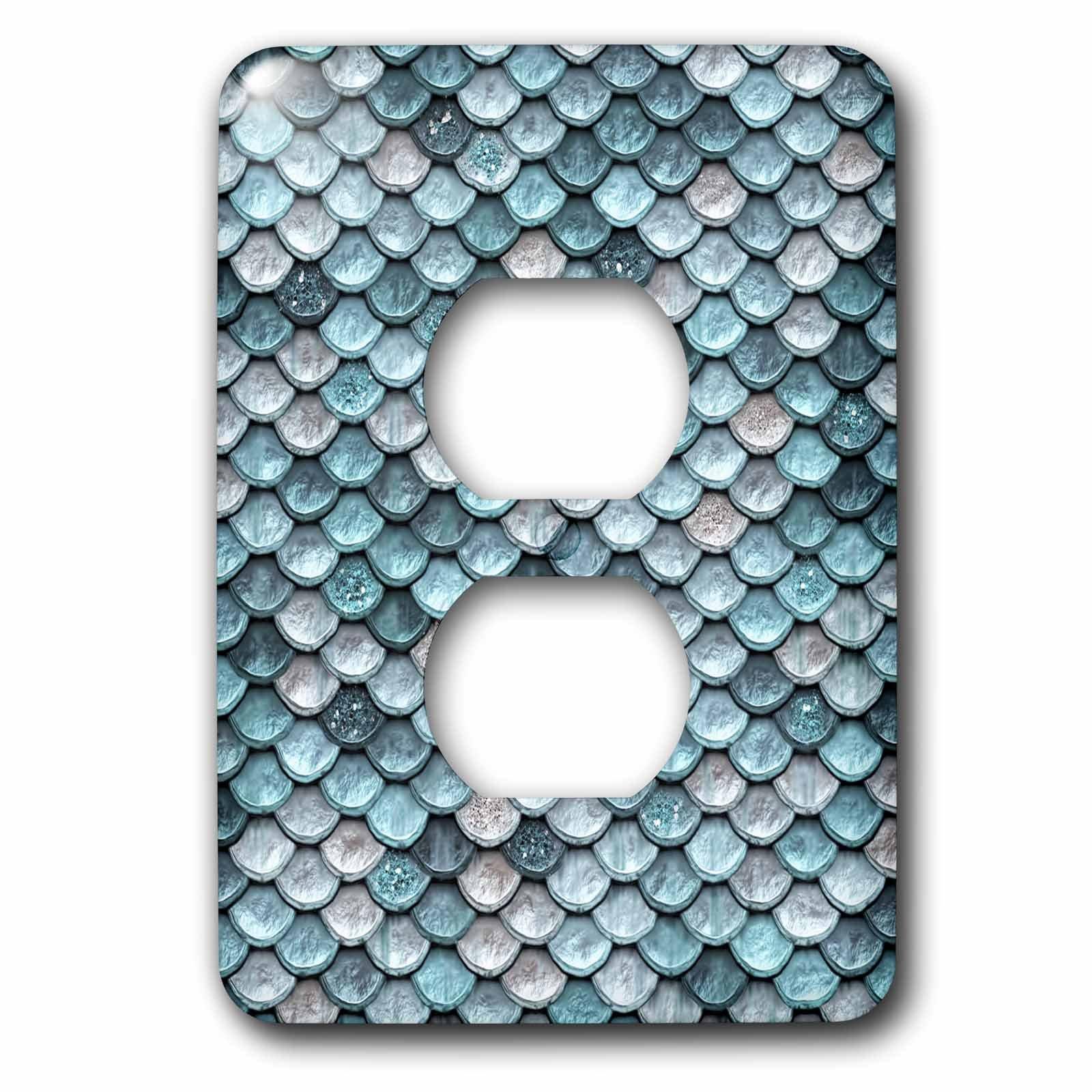 3dRose Uta Naumann Faux Glitter Pattern - Sparkling Teal Luxury Elegant Mermaid Scales Glitter Effect Artprint - Light Switch Covers - 2 plug outlet cover (lsp_267058_6)