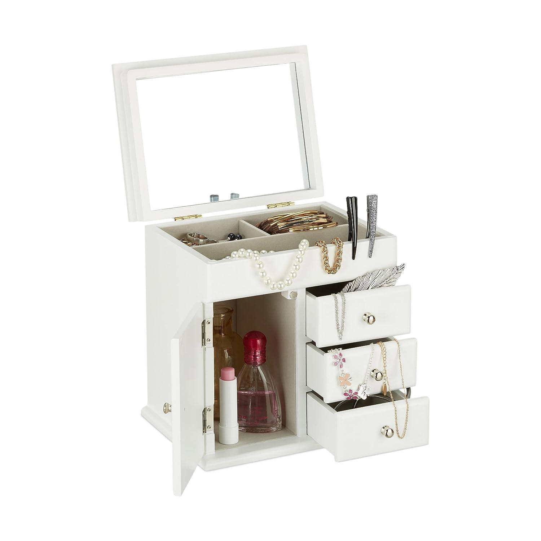 Relaxdays Schmuckkästchen Holz mit Spiegel, Schmuckschatulle für ...