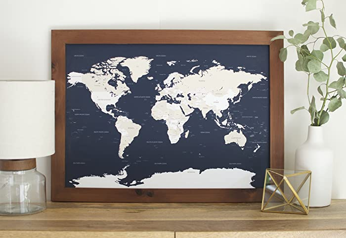 Amazon small navy world map push pin travel map framed small navy world map push pin travel map framed world map in handcrafted wood gumiabroncs Choice Image