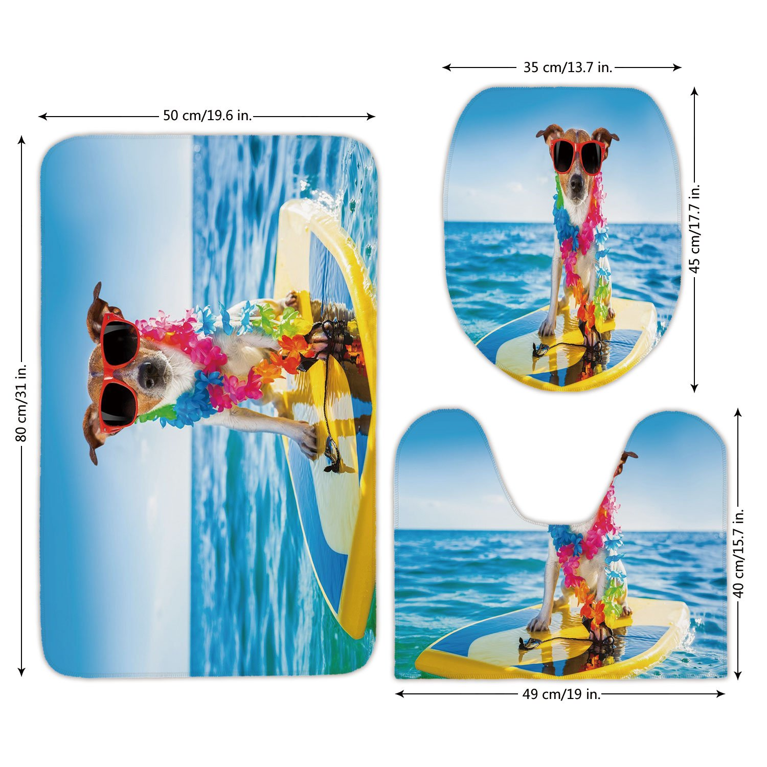 3 Piece Bathroom Mat Set,Ride The Wave,Dog in the Ocean Surfing Cool Puppy Swimming Comic Coastal Animal Picture,Blue Yellow,Bath Mat,Bathroom Carpet Rug,Non-Slip