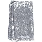 """iShine 12""""x108"""" Silver Sequin Table Runners Premium Quality Sparkling Sequins Table Runner for Wedding Birthday Baby Shower Festival Christmas Party Decorations"""