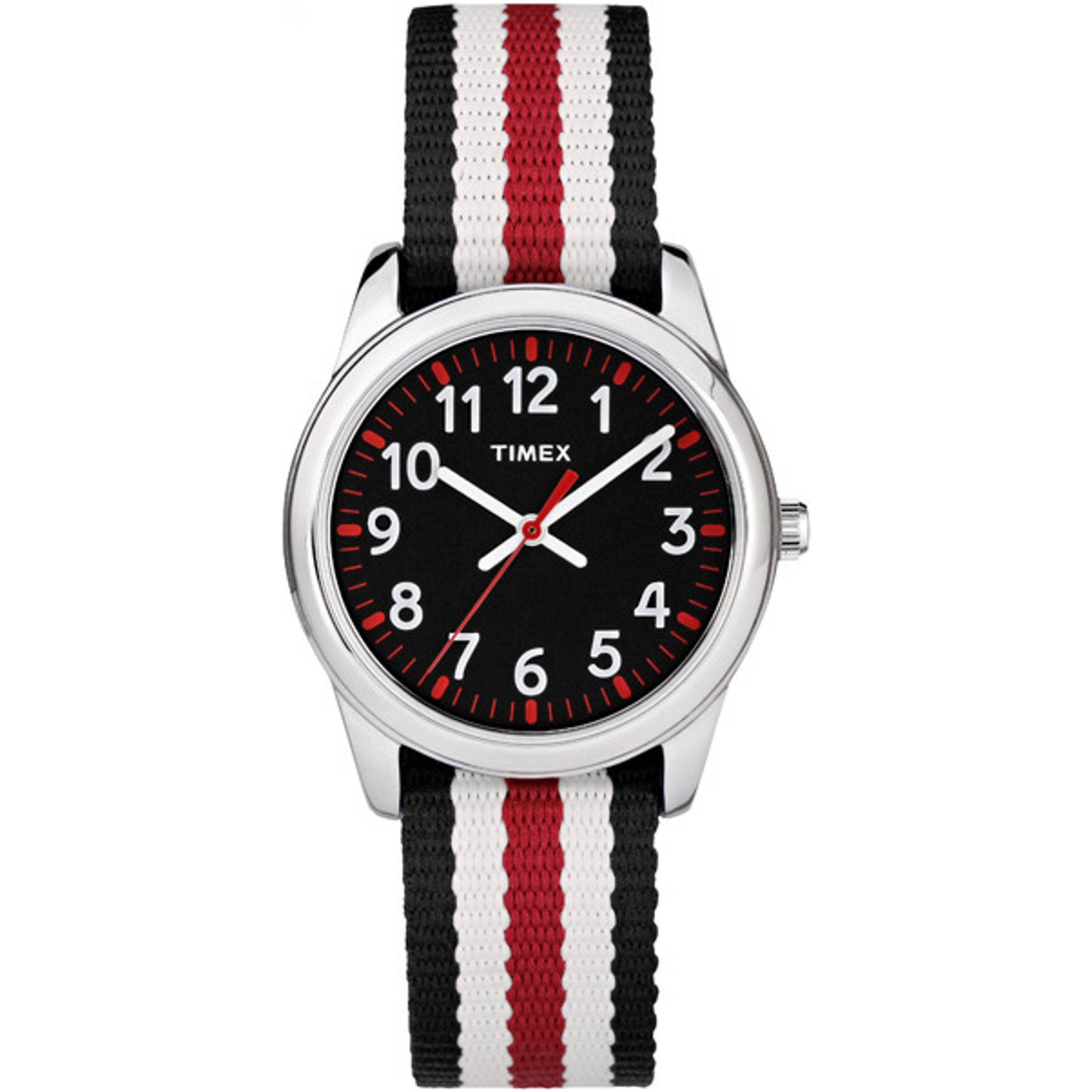 Timex Boys TW7C10200 Time Machines Metal Black/Red Stripes Nylon Strap Watch by Timex