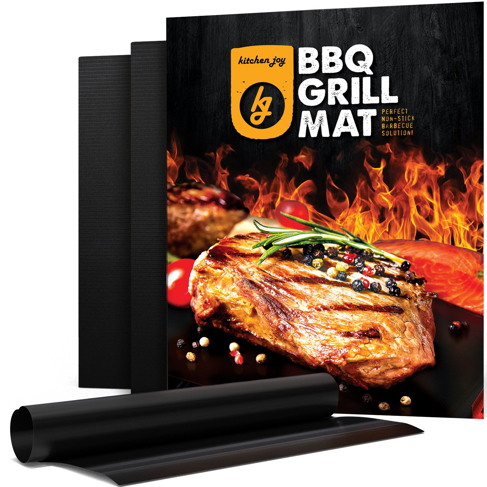 Kitchen Joy BBQ Grill Mat, Set of 3 Non-Stick, Fireproof Grill Sheets, Barbecue Accessory for Gas, Charcoal, Electric Grills. Easy to Clean Barbque Grill Accessories/Grill Grease Tray by Kitchen Joy