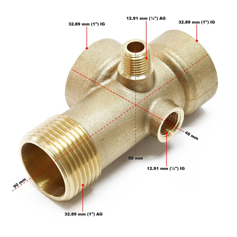 5-Wege Verteiler Messing DN25 1DN13 1//4 IG//AG Hauswasserwerk Membrankessel Manometer Druckschalter