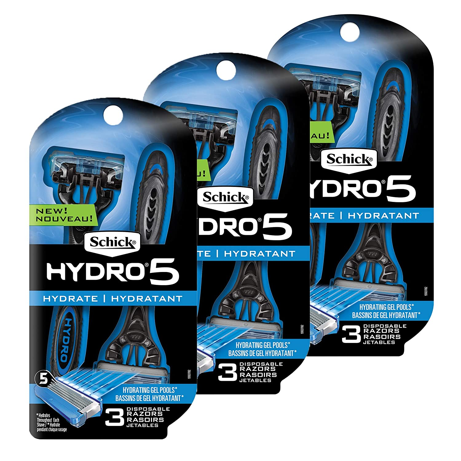 Schick Hydro 5 Disposable Razors for Men with Flip Beard Trimmer, 9 Count