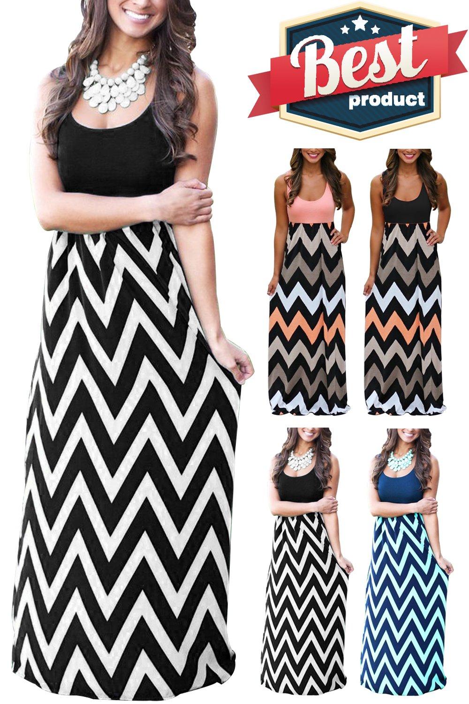 Mommy Jennie Womens Summer Boho Empire Chevron Tank Top Casual Maxi Long Dress Beach Dresses (A-Black, X-Large)