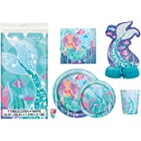 Deluxe Mermaid Birthday Party Supplies Pack - Serves 16 - Tablecloth, Plates, Napkins, Cups and Centrepiece Decoration
