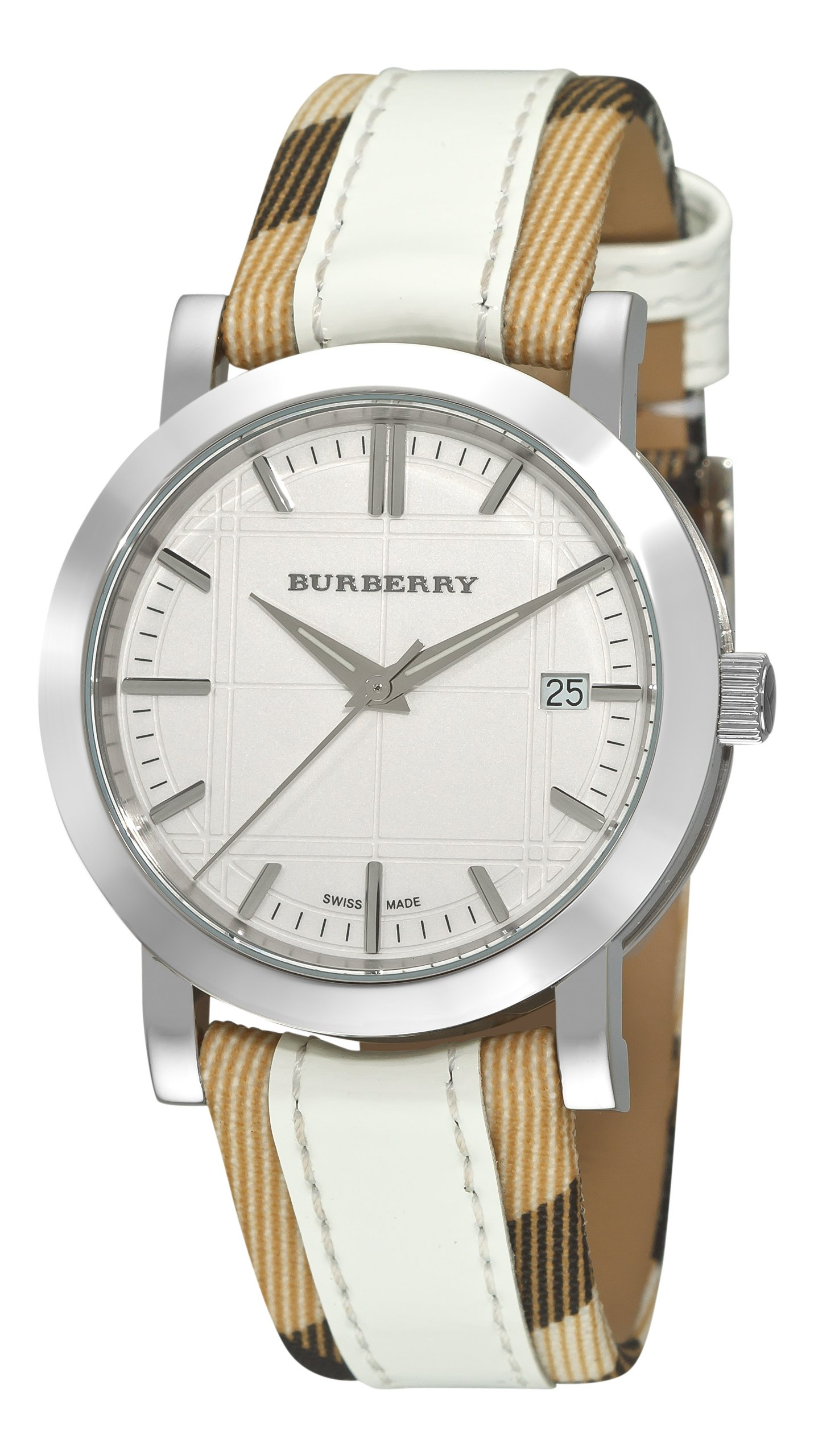 Burberry Women's BU1379 Nova Check Checked with White Leather Strap Watch