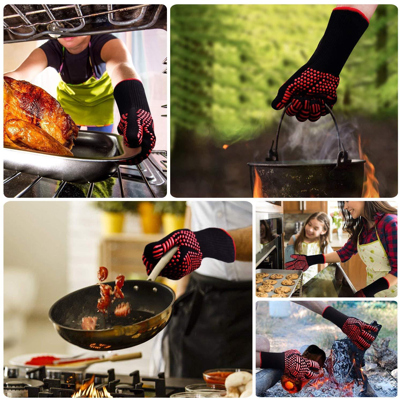 RichDeer Guanti per Barbecue Guanti da Cucina Resistenti al Calore universali Guanto da Cucina Anti Calore Perfetti per Grill Barbecue Cucina Forno da Cucina caminetto Camino Versione migliorata