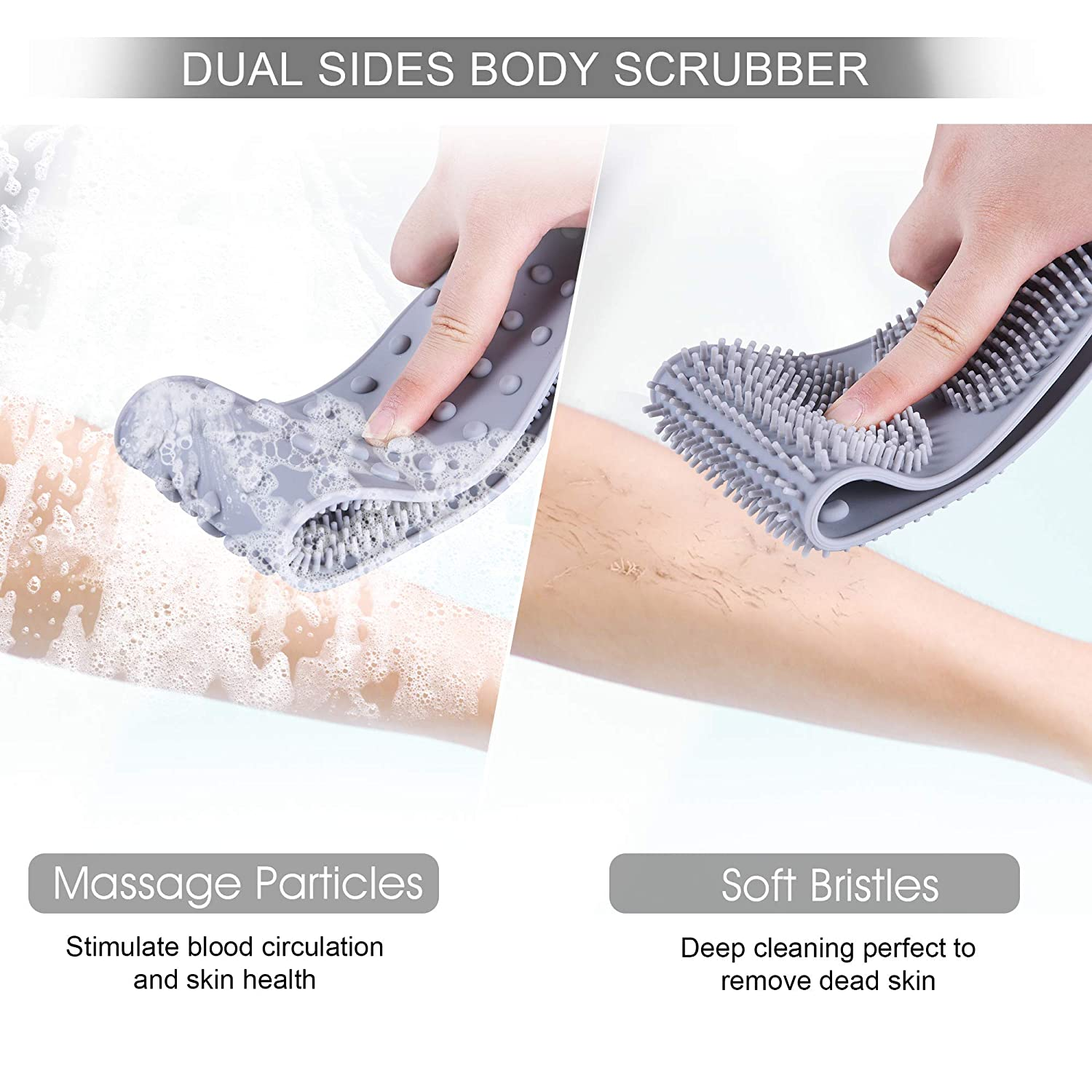 Silicone Back Scrubber for Shower, OHH 31.5 inches Exfoliating Long Bath Body Brush for Men Women, Double Side Back Washer Brush for Dead Skin Remover, Shampoo Brush and 2 Hooks Gift (Gray) : Beauty
