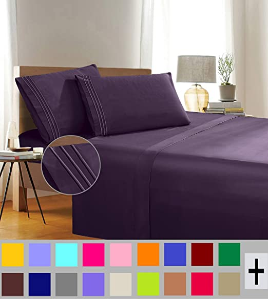Twin Elegant Comfort 1500 Thread Count Egyptian Quality 4 Piece Wrinkle Free and Fade Resistant Luxurious Bed Sheet Set Eggplant Purple