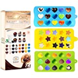 Bigear Candy Molds & Ice Cube Trays - Hearts, Stars & Shells - Silicone Chocolate Mold - Fun, Toy Kids Set - Use for Making Homemade Cake, Candy, Chocolate, Gummy, Ice, Crayons, Jelly, and More by Bigear