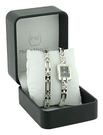 97c7924f1 Philip Mercier Ladies Rectangular Shaped Black Dial Watch with Matching Bracelet  Gift Set: Amazon.co.uk: Watches
