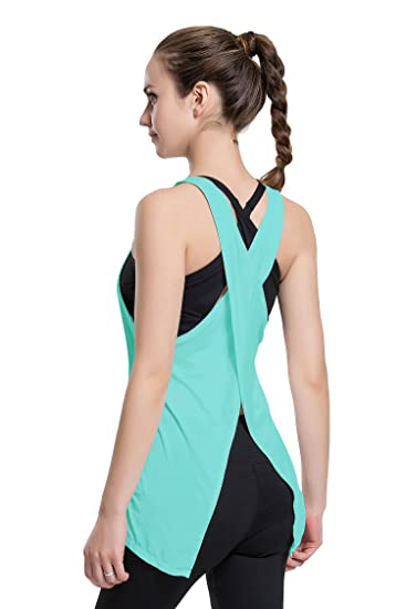 57c619e1d7 Cityoung Womens Sexy Open Back Yoga Tank Tops Tie Back Racerback Workout  Clothes Sport Shirt at Amazon Women s Clothing store
